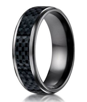 Mens Black Anium Wedding Band With Carbon Fiber Inlay 8mm