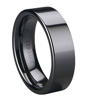 Men's Black Ceramic Ring with Flat Profile and Glossy Finish | 6mm - MC0048