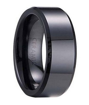 Men S Black Ceramic Wedding Band With Flat Profile Beveled Edge And Polished Finish 7mm