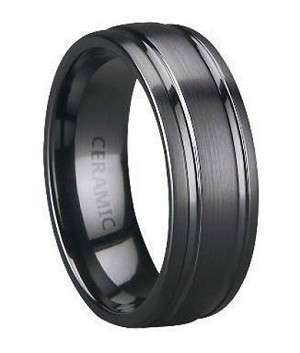 Men S Black Ceramic Wedding Band With Two Grooves And A Satin Finish 8mm Mc0051