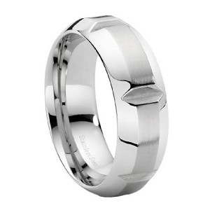 Contemporary Men's Stainless Steel Wedding Ring with Notches | 9mm