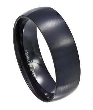 Black Stainless Steel Wedding Band Mss0081