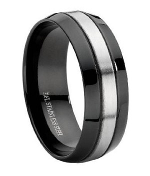 comfort fit black stainless steel wedding ring with brushed center band 9 mm - Black Mens Wedding Ring