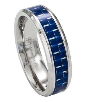 Men's Stainless Steel Wedding Band with Blue Carbon Fiber Inlay | 7mm - MSS0191