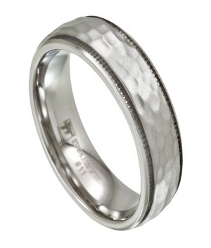 Men's Hammered Stainless Steel Wedding Band with Milgrain Edge | 7mm - MSS0195