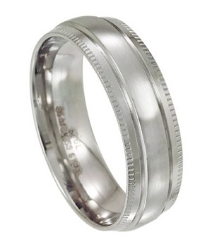 Stainless Steel Wedding Ring with Step Down Milgrain Edges | 7mm