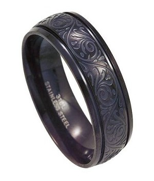 Men S Black Stainless Steel Ring With Swirling Design 8mm