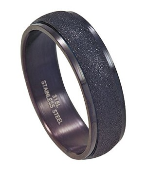 Men's Black Ring in Stainless Steel with Sandblasted Center | 7mm