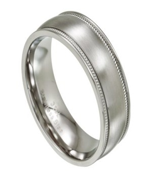 Traditional Men's Wedding Ring in Stainless Steel with Milgrain | 8mm