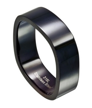 Four Sided Men S Black Stainless Steel Wedding Ring 8mm