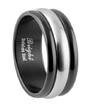 465b0177fc743 Black Stainless Steel Wedding Ring With Brushed Finish Band - MSS0604
