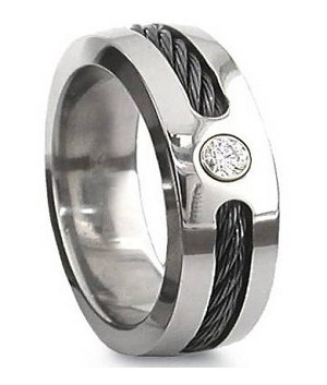 Black Cable Anium Ring With Cz Mt0123