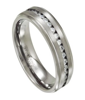 Men's Titanium Wedding Ring with Channel-Set CZs | 7mm - MT0140