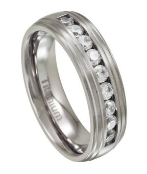 Men's Grooved Titanium Wedding Band with 9 CZs | 8mm - MT0141