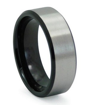 Men S Black Anium Wedding Band With Satin Finished Overlay 8mm Mt0142