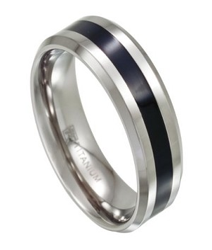 Two Tone Titanium Wedding Ring with Black Resin Inlay | 8mm