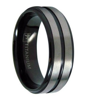 Black Anium Men S Wedding Band With Two Satin Bands 8mm Mt0145