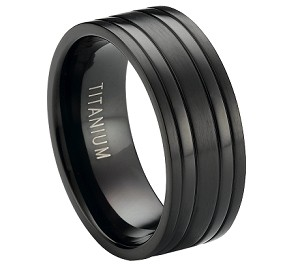 Satin-Finished Black Titanium Ring with Polished Bands | 8mm - MT0171