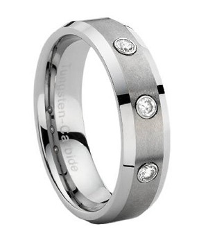 Comfort-fit Tungsten Wedding Band with Three CZs and Polished Beveled Edges - Brushed Finish – 7 mm - MTG0024