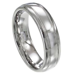 Men's White Tungsten Ring with Satin Finish and Polished Grooves | 7mm - MTG0062