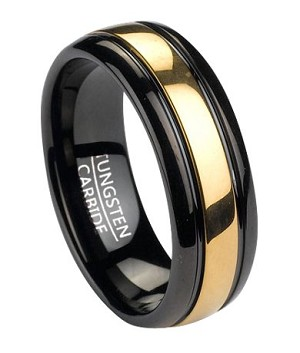 Two Tone Black Tungsten Wedding Band With Gold Inlay 8mm