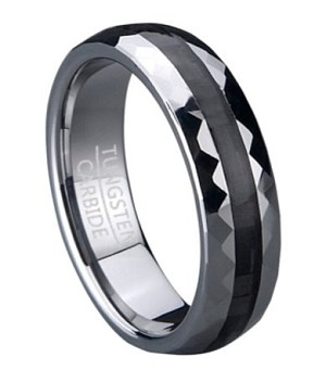 Tungsten Wedding Ring With Carbon Fiber Center Inlay 6mm