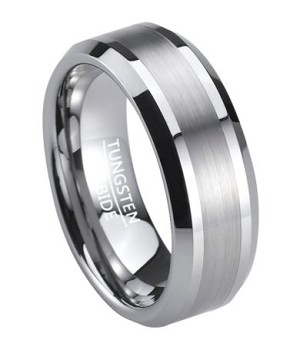 Men's Wedding Band in Tungsten with Polished Beveled Edges | 8mm