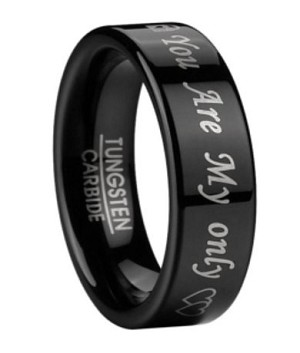 Men S Black Tungsten Wedding Band With You Are My Only
