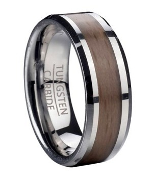 Tungsten Wedding Band With Red Beech Wood Center Inlay 8mm