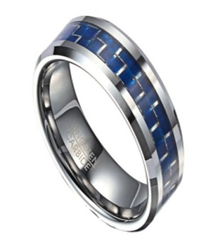 Two Tone Tungsten Wedding Band with Blue Carbon Fiber Inlay | 8mm