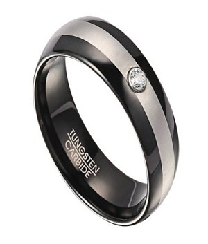 Two Tone Tungsten Wedding Ring for Men with Single CZ | 8mm